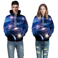 Wholesale Thin Lapel Piece Suits - Space Galaxy 3d Sweatshirts Men Women Hoodies With Hat Print Stars Nebula Autumn Winter Loose Thin Hooded Hoody Tops