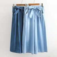 Wholesale women wide leg jeans - Mferlier Vintage Autumn skirts Jeans for women Casual Denim Bow Wide Leg pants Navy blue and Light blue