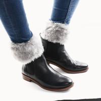 Wholesale Fur Trim Boots - 1 Pair Warm Womens Lady Crochet Knitted Fur Trim Leg Warmers Cuffs Toppers Boot Socks Winter