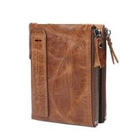 Wholesale Vintage Interior Design - Hot Sale Luxury Brand Casual Vintage Fashion Business Leather Men's Wallet High Quality Zipper Design Men's Wallet Card Holders Wallets
