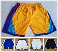 Wholesale Hot Men Sweatpants - Hot Sale Basketball Short Mens GOLDEN State 2017-18 New Season Breathable Sweatpants Retro Throwback Basketball Shorts Blue white black