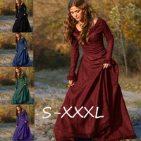 Wholesale Medieval Renaissance Gowns - Woman's Renaissance Medieval Gothic Long Dresses for Halloween Ball Gowns Costumes Gothic Evening Dresses Plus Size