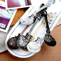 Wholesale Vintage Coffee Scoops - 2018 Vintage Alloy Coffee Spoon Crown Palace Carved Dining & Bar Tableware Small Tea Ice Cream Sugar Cake Dessert Dinnerware Spoons Scoop