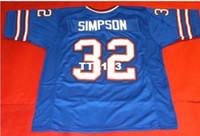 названия тканей оптовых-Мужчины спереди и сзади сетка ткань синий OJ Симпсон высокое качество полный вышивка колледж Джерси sz S-4XL или пользовательские любое имя или номер Джерси