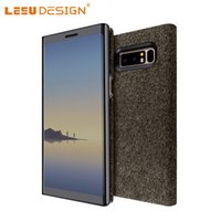 Wholesale Mirrors Covers - LEEU DESIGN for iphone x 6 7 8 plus clear view window mirror flip cover with stand for samsung galaxy note 8 s7 edge s8 plus s9 j5 a5 2018