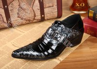 Wholesale Personalized Wedding Shoes - Black Men Genuine Leather Shoes Vintage Skull Mens Wedding Shoes Personalized Oxford For Men Commercial Office
