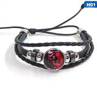 bracelets zodiac zodiac achat en gros de-Lumineux 12 Constellation Bracelets En Cuir Faits À La Main Pour Les Femmes Armure Multi Couche Punk 12 Zodiac Couple Charmes Bracelet Bijoux