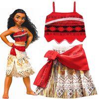 Discount children dressing up clothes - Brand Birthday Party Girls Princess dresses Kids Advanture Halloween Cosplay Costumes Children Vaiana Dress Up Clothing