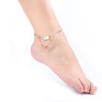 ingrosso disegni della catena della caviglia-Elephant Design Women Gril Tassel Chain - Gold Silver Color Metal Chain Cavigliera Cavigliera Bracciale Catena a piedi Gioielli Beach Anklet