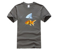 Wholesale mens fishing shorts - DIY style mens t shirtsNew Goldfish and Shark Brand Fish Cool Printed Men's Casual T-shirt Male Retro Hipster Tops Tee