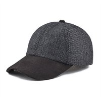 el yapımı beyzbol kapakları toptan satış-VOBOOM Beyzbol Şapkası Erkekler El Yapımı Balıksırtı Yün Blend Şapka Kadınlar Güz Kış Kömür Topu Caps 170