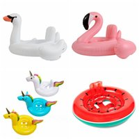 Wholesale Swimming Baby Rings - Baby Swimming Ring Unicorn Seat Inflatable Unicorn Pool Float Baby Summer Water Fun Pool Toy swan flamingo Kids Swimming float