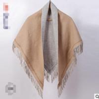 простые белые шарфы для женщин оптовых-New autumn and winter shawlfor women plain white shawl fringed pure wool scarf foreign trade hot style scarf