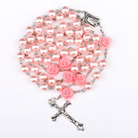 Wholesale Christmas Glass Beads Wholesale - pink Rosary Beads Catholic Rosary Necklace For Girls Women Glass Father Bead Crucifix Pendant Rose halloween Gift girl 162671