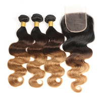 Wholesale 3 Bundles Ombre Malaysian Body Wave Human Hair Bundle With Closure Weave b Non Remy Hair Lace Closure Ombre Human Hair