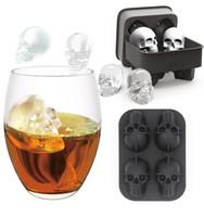 forme cube 3d achat en gros de-4 Grilles 3D Tête De Crâne Moule À Glaçons Halloween Crâne En Forme de Whisky Vin Cube De Glace Plateau Maker Chocolat Moule Bar Fournitures de Fête