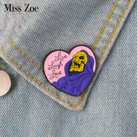 cadeaux pour l'amour achat en gros de-Vive Laugh Love émail broche en forme de coeur insigne squelette broche épingle de revers pour Jeans chemise jean sac gothique bijoux cadeau pour ami