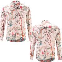 Wholesale Silk Mens Long Shirt - Fashion Silk shirts Mens Slim Fit designer shirts Trees birds Floral 3D Print Italy Brand Long Sleeve chemise arc Hem Casual flannel Shirt