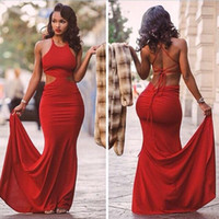 Wholesale Tight Mermaid Dresses - Red Tight Prom Dress Mermaid Backless Long Formal Special Occasion Dress Evening Party Gown Plus Size vestidos de festa