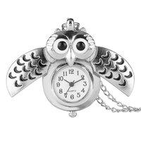 сова смотреть женщина оптовых-Изысканный Серебряный Сова женщины кварцевые карманные часы Часы гладкий циферблат старинные милый кулон Fob часы для Леди Gifl ребенка