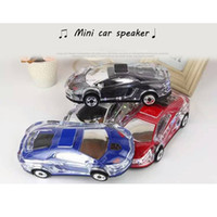 Wholesale car shape mini mp3 player - Portable Bluetooth Wieless Speaker Colorful Crystal LED Light Mini Car Shape Amplifier Loudspeaker Support TF FM MP3 Music Player MIS184