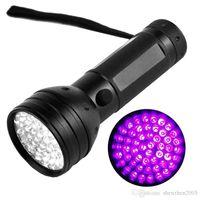 Wholesale wholesale lighting online - UV Ultraviolet LED Flashlight Violet Blacklight Black Light Torch nM LED Aluminum Shell UV Torch Mini Light AAA Battery