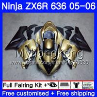 carenado abs zx 636 al por mayor-Body + gold Tank Para KAWASAKI NINJA ZX-636 ZX 6R 600CC 6 R ZX636 05 06 210HM.2 ZX6R 05 06 champagne blk ZX600 ZX 636 ZX-6R 2005 2006 Carenados