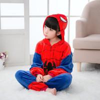 macacão de pijama venda por atacado-Original Crianças Sleepwear Spiderman Flanela Com Capuz Macacão Pijama Traje Anime Cosplay Onesie