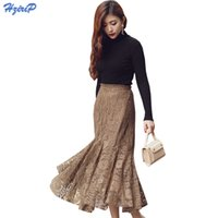 Wholesale fishtail skirts - HziriP Mermaid High Waist Lace Skirt Women Autumn Winter Trumpet Bottoms Fashion OL Office Wear Bodycon Vintage Fishtail Skirts