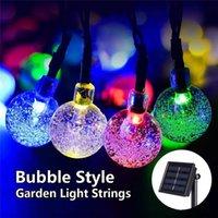 açık renkli çok renkli ışıklar toptan satış-Güneş Dize Işıkları Açık Peri Lamba Renkli 20 LED Kristal Top Noel Ağaçları Bahçe Partisi Dekoru için Festivali