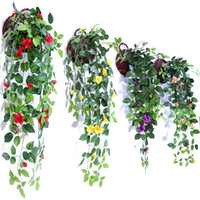 Wholesale red hanging flowers online - Simulation Artificial Hang Baskets Flower Fake Rose Vines Wedding Wall Hanging Living Room Balcony Home Decoration Colorful mh jj