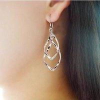 ol-legierung großhandel-Twisted Diamond Multi-Layer-Ohrringe Doppelring Damen OL klassische Mode super glänzende Legierung Ohrringe Ohrringe