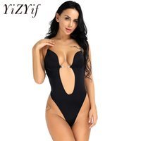 1a1f5708c8f99 YiZYiF Sexy Women s Deep V Round Up Wedding Bra Bustiers Corsets Body  Shaper Bodysuit Thong Seamless Conjoined Bra Jumpsuit