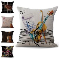 Wholesale musical decor resale online - Musical Instrument Violin Pillow Case Cushion cover linen cotton Throw Square Pillowcase Cover Home Bedding Home Decor Drop Ship