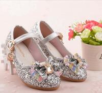 zapatos de vestir de perlas de las niñas al por mayor-Shiny Children Princess Beading Kids Flower Wedding Prom 2018 Zapatos formales Tacones altos Zapatos de vestir Zapatos de fiesta para niñas