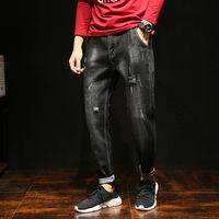 skull print harem pants Canada - Black Ripped Jeans Men Cotton Solid Hip Hop Streetwear Men Harem Pants Mens Skull Print Biker Jeans Male Denim Pants Cowboys