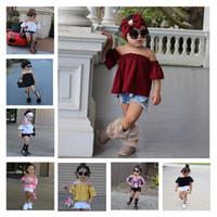 ingrosso i jeans dei bambini hanno fissato la moda-Baby Girl Denim Fashion Set Abbigliamento Bambini Camicie senza spalline Top + Pantaloncini di jeans + Fascia di prua 3PCS Abiti da ragazza Summer Kid Tuta