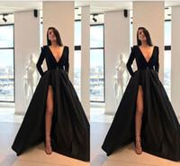 c192e7b52f Otoño Invierno Negro Vestidos de diseñador Vestido formal 2019 Escote en v  Manga larga Alto bajo Satén Vestido de fiesta Vestidos de noche Vestido de  fiesta ...