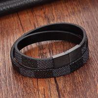 браслет из нержавеющей стали оптовых-Ручной крест широкий манжеты браслеты из нержавеющей стали магнитные браслеты из натуральной кожи мужчины браслеты браслеты для женщин ювелирные изделия