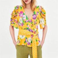 970bd2523587ef 2018 frühling frauen gelb v-ausschnitt floral shirt fliege dot gürtel  gefaltete kurzarm sweet helle bluse