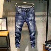 Wholesale ankle zipper skinny jeans - ClassDim Good Quality Men's Cotton Blue Denim Jeans Men Holes Skinny Jeans New Fashion Male Ankle-Length Pant Slim Casual Jeans