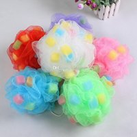Wholesale pe net - Sponges PE Bath Ball Shower Body Bubble Exfoliate Puff Sponge Mesh Net Ball Cleaning Bathroom Accessories Home Supplies Free DHL WX9-445