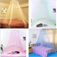 böcek gölgelik toptan satış-Zarif Yuvarlak Dantel Cibinlik Böcek Yatak Canopy Netleştirme Perde Dome Cibinlik Ev Odası 4 renkler FFA281 50 ADET