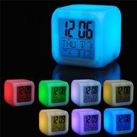 Wholesale alarm cube resale online - 7 Color Glowing Change Alarm Clock Digital Clock Thermometer Cube LED Clock Time Data Week Temperature Display Desktop Night light