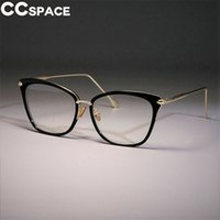 marcos de gafas de ojo de gato grande al por mayor-Lady Sexy Cat Eye Frames Marcos Mujeres Retro Grandes Gafas de Aleación CCSPACE Diseñador de la Marca Óptica Moda Moda Gafas 45369