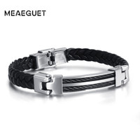 Wholesale leather bracelets for sale - Group buy Stainless Steel Cable Chains With Silver Gold Color Men s Leather Bracelet Black Cuff Hand Wrist Male Bracelets Fashion Jewelry