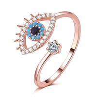 kadınlar için ayarlanabilir halkalar toptan satış-Mavi gözler Ayarlanabilir Kadınlar Yüzük Kübik Zirkonya Güzel Kalite gül altın dolgulu Zarif Bayanlar Yüzükler