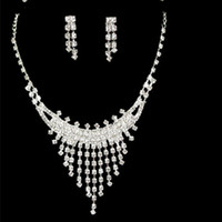 Wholesale led party accessories - Cheap Charming Necklace Earrings Sets Bridal Jewelry Accessories Prom Party Fashion Jewelry