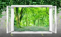 Wholesale windows live tv online - Custom Photo Wallpaper Out of the window green fresh woods forest HD TV background wall decoration painting Art Mural for Living Room Large