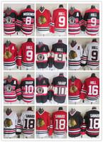 camisetas negras de blackhawks al por mayor-CCM Newest Men Stitched Chicago Blackhawks # 8 MOSIENKO / # 9 HULL / # 10 SHARP / # 16 HULL / # 18 SAVARD Blanco Negro Rojo CCM Camisetas de hockey sobre hielo